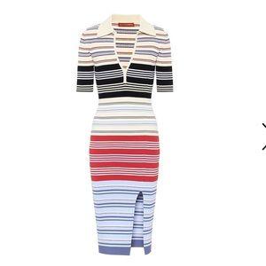 Altuzarra Barkers Ribbed Knit Midi Dress Stripes